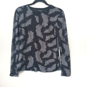 2for$30!! Paniz leaf printed black/gray top size M